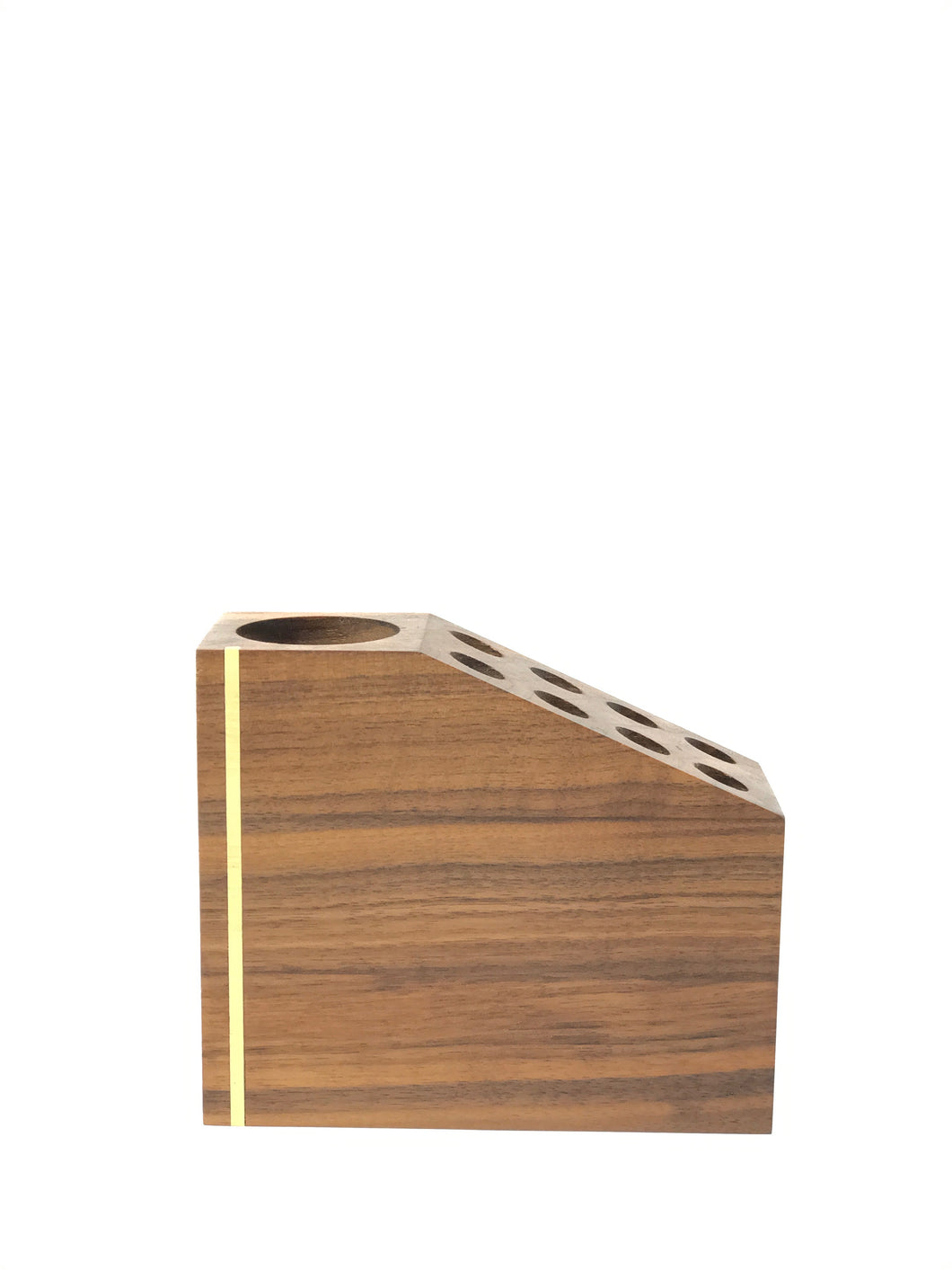 Hardwood Geometric Pencil Holder & Office Organizer