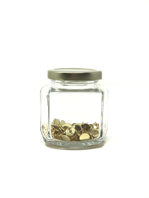 100 Brass Tacks Glass Jar