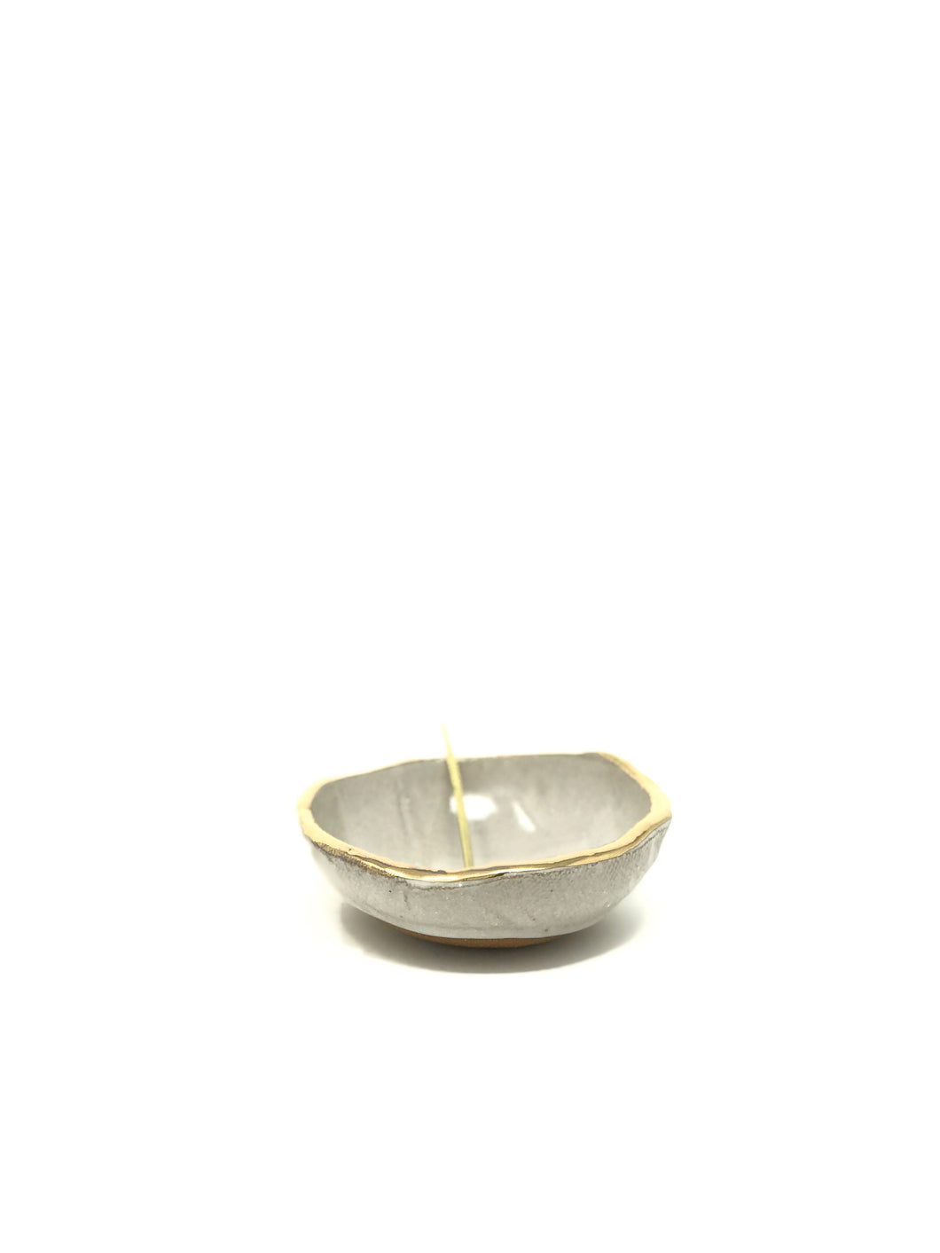 Salt Bowl with Gold Rim and Brass Spoon