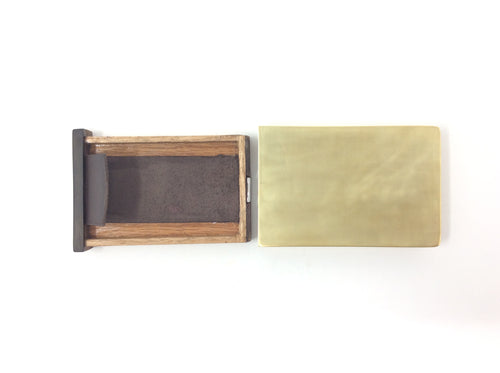 Brass Wallet with Leather and Wood Details