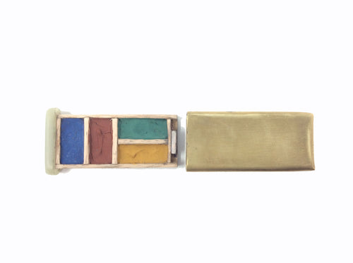 Brass Watercolor Travel Set with Synthetic Jade