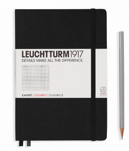 Black A5 Notebook - Grid