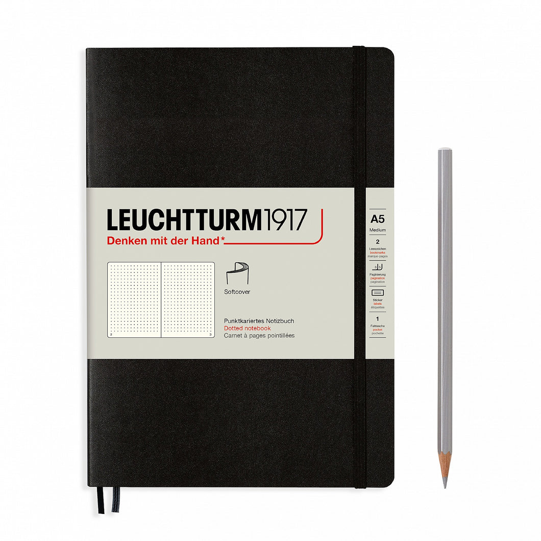 Black A5 Soft Cover Notebook - Dotted