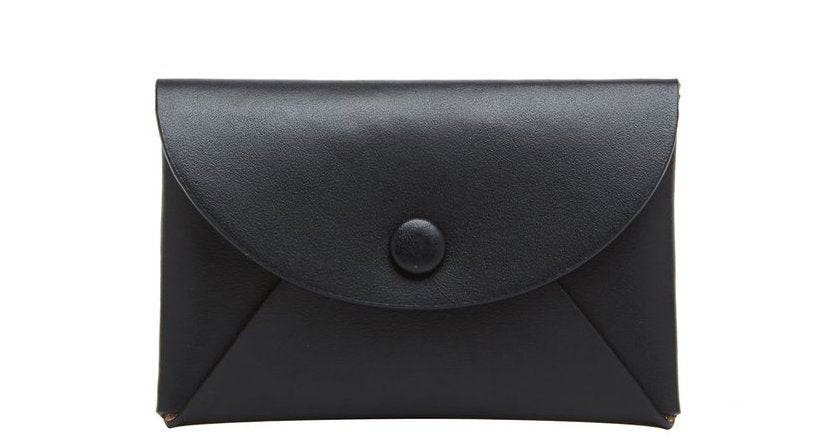 Calf Leather Envelope Card Case in True Black