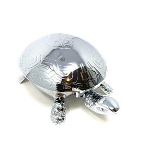 Chrome Plated Turtle Paperweight and Bell