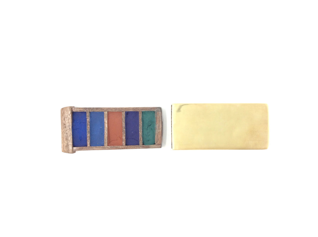 Brass Travel Watercolor set w/ Walnut Drawer
