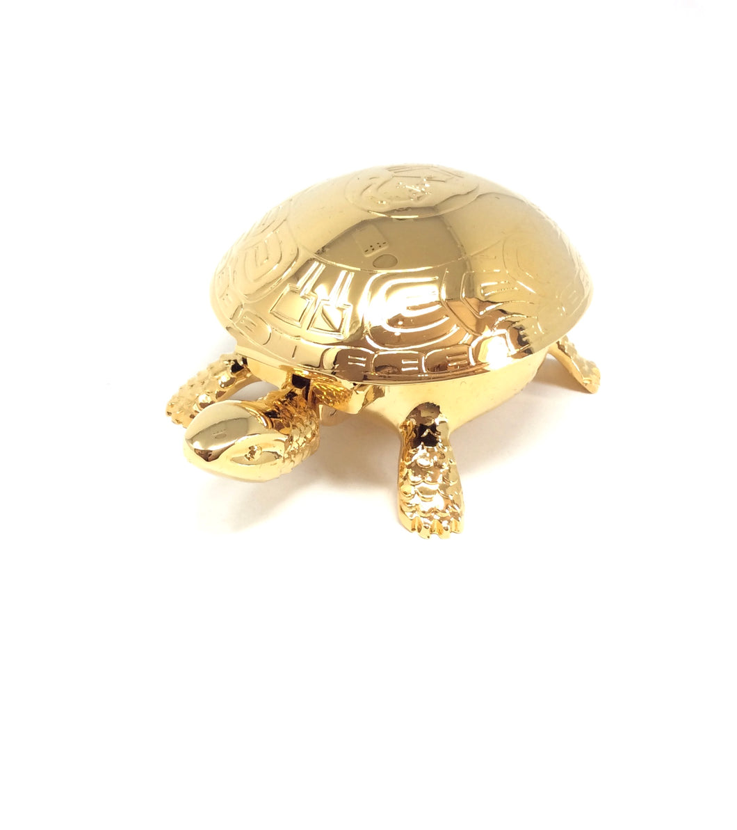 23k Gold Plated Turtle Paperweight and Bell