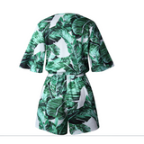 Sexy Tropical Green Lace Playsuit