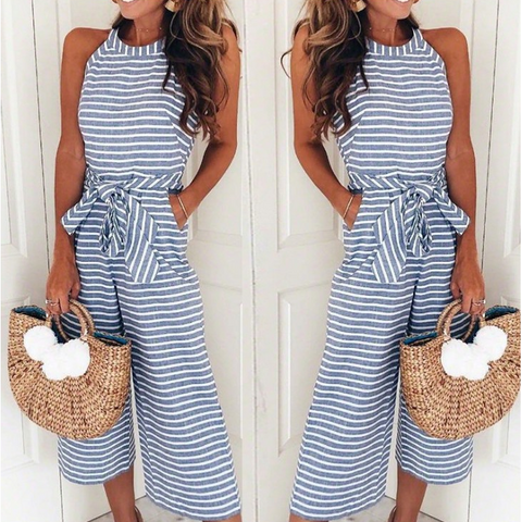 Elegant Sleeveless Striped Rompers