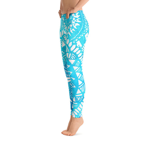 Blue Mandala Yoga Leggings - Zen Apparel