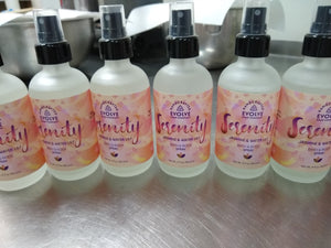 Beautiful frosted glass pump bottles filled with our fragrant Serenity Bath & Body Spray