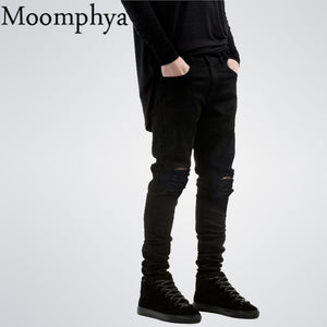 2018 New Black Ripped Jeans Men With Holes Denim Super Skinny Famous Designer Brand Slim Fit Jean Pants Scratched Biker Jeans - LyLyDress