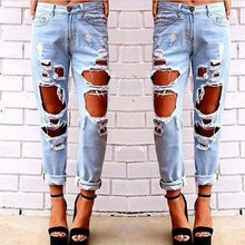 2018 New Fashion jeans woman Light Blue Solid Novelty Skinny Full length ripped Damaged Pencil Pants - LyLyDress