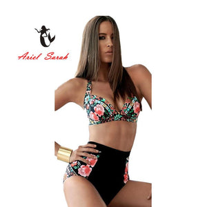 2018 Plus Size Women Bikini Sexy Print Push Up Bikinis Black Swimwear Maillot De Bain Biquini Beach Swimsuit Bathing XXXL BJ068 - LyLyDress