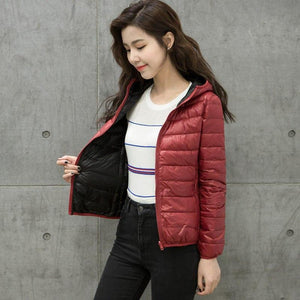 2018 Autumn Winter Women Jacket Double Side Wear Light Thin White Duck Down Female Coat Fashion Women's Outwear Ladies Jackets - LyLyDress