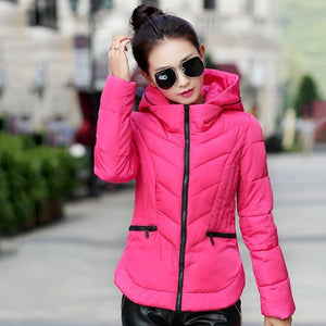 2018 Fashion Short Winter Jacket Women Slim Female Coat Thicken Parka Cotton Hooded Fur Collar candy-colored Ladies Jacket - LyLyDress