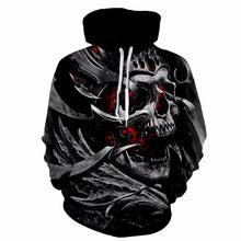 2018 New EU Plus Size  Men Hoody Sweatshirts Melted 3D Printed Tattoos Skull Hoodies Fashion Casual Pullover Tops Spring Hipster - LyLyDress