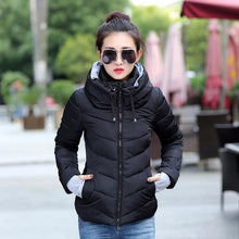 2018 hooded women winter jacket short cotton padded womens coat autumn casaco feminino inverno solid color parka stand collar - LyLyDress