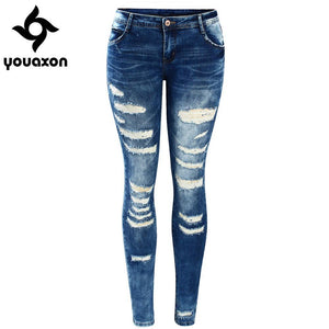 Women`s Celebrity Style Fashion Blue Low Rise Skinny Distressed Washed Stretch Denim Jeans For Women Ripped Pants - lemonclothes