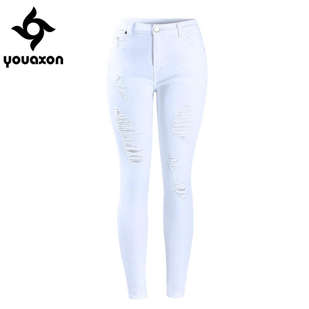 e804dd86e32 Women`s Distressed Curvy White Mid High Waist Stretch Denim Pants Ripped  Skinny Jeans For ...