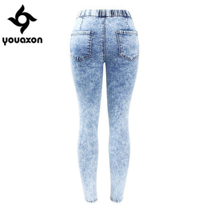 New Plus Size Ultra Stretchy Acid Washed Jeans Woman Denim Pants Trousers For Women Pencil Skinny Jeans - LyLyDress