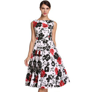 ACEVOG Brand S - 3XL Women Dress Retro Vintage 1950s 60s Rockabilly Floral Swing Summer Dresses Elegant Bow-knot Tunic Vestidos - LyLyDress