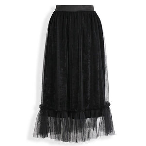 2018 Summer Mesh Long Tulle Skirt Women High Waist Pleated Skirts A Line Vintage Lace Mesh Maxi Tulle Skirt - LyLyDress