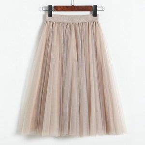 Fashion Sweet Multi-layer Puff Gauze Skirt Elastic Waist Women Skirts High Waist Long Skirt Many Colors Tulle Skirt - LyLyDress