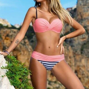 Bikini Set 2016 Summer Low Waist Swimwear Women Sexy Bench Swimsuit Bathing Suit Push Up Biquini Brazilian Maillot De Bain - LyLyDress