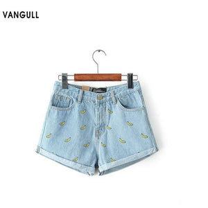 Denim Shorts Women Summer Banana Flower Embroidery Cotton Denim Shorts 2018 curling plus size casual female waist Jeans Shorts - LyLyDress