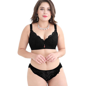 FallSweet Push Up Lace Bra Set for Women PLus Size Bra and Panties Set Sexy Lingerie Set White Black - LyLyDress