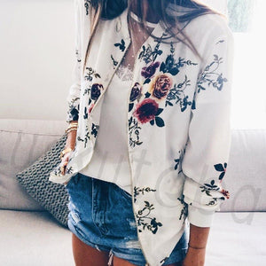 Fashion Women Jacket Floral Casual Girl Lady Fit Long Sleeve Print Zipper Jacket Coat Outwear Autumn Women Clothes - LyLyDress