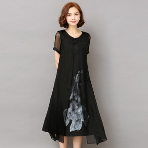 Fashion2018 New Spring Summer White Black Ink Print Women Long Dress Retro Short Sleeve Cotton Linen Designs Casual Dresses Slim - LyLyDress