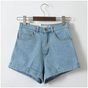 Euro Style Women Denim Shorts Vintage High Waist Cuffed Jeans Shorts Street Wear Sexy Shorts For Summer Spring Autumn - LyLyDress