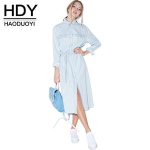 HDY Haoduoyi Women Retro Denim Dress Front Belt Casual Vintage Dress Women Blue Solid Midi Shirt Dress Robe Femme Vestido - LyLyDress