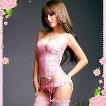 Hot Selling Sexy Mermaid Lingerie Pink Lace Belted Corset Top+G-String+Stocking Set - LyLyDress