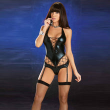 Black Sexy Vinyl Teddy Lingerie Novelty Exotic Bustiers corset Wet Look Underwear Overbust Gothic Steampunk Bustier - LyLyDress