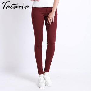 Jeans Female Denim Pants Candy Color Womens Jeans Donna Stretch Bottoms Feminino Skinny Pants For Women Trousers 2018 Tataria - LyLyDress