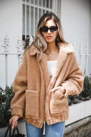 New Women Coat Warm Winter Wool Lapel Coat Khaki Loose Top Jacket Coat Overcoat Long Sleeve Girls Casual Jackets - LyLyDress