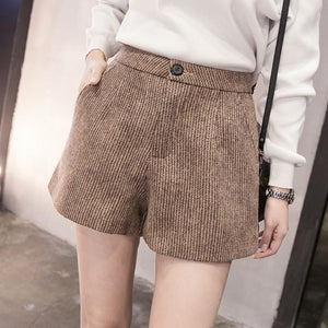 New Autumn Woolen Shorts Women 2018 Winter Loose Wide Leg Shorts Feminino A Line Zipper Pocket Short Femme Size S-XXL - LyLyDress