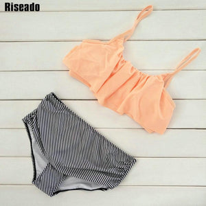 2018 Ruffle Vintage Bikini Swimsuit Bandage Striped Bottom Bathing Suits - LyLyDress