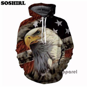 SOSHIRL Punk Hoodies Fresh Cool Beer Men's Outfit Autumn Winter Loose Hooded US Flag Eagle Hoody Unisex Hipster Tops US Size - lemonclothes