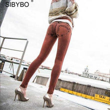 Women Full Hip Skinny Elastic Waist Stretch Jeans New Fashion Sexy Female Autumn Winter Jeans Pencil Pants 5 colors - lemonclothes