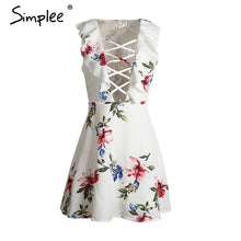 Simlpee Floral print ruffles lace up summer dress Sleevelees deep v-neck  women dress  Sexy party  dress vestidos - LyLyDress