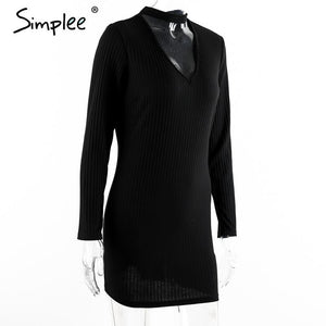Simplee Apparel Autumn sexy halter knitted dress Women winter elegant bodycon dress Casual black vestidos short sweater dresses - LyLyDress