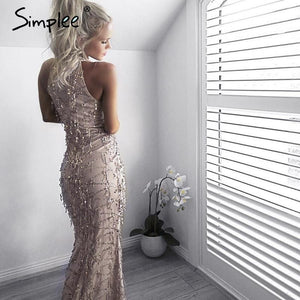 Simplee Apparel Elegant sequin tassel maxi mermaid dress Women evening party summer dress 2016 sexy mesh long dress vestidos - LyLyDress