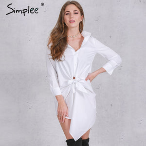 Simplee Apparel brief white shirt dress women Sexy bow long sleeve summer dress 2016 new Casual straight black office dresses - LyLyDress