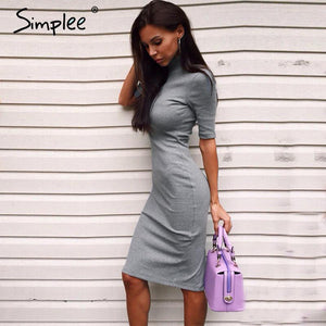 Simplee Apparel half sleeve turtleneck sexy women knitted dresses Spring summer evening party bodycon dress vestidos de fiesta - LyLyDress