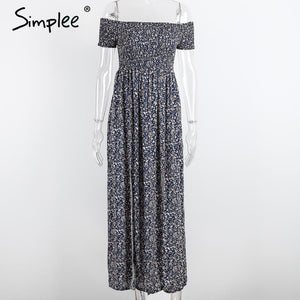 Simplee Apparel sexy side split off shoulder print summer dress High waist pleated maxi dress women Vintage beach dress vestidos - LyLyDress