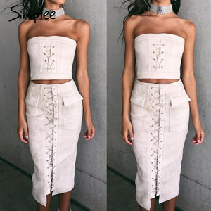 Simplee Autumn lace up suede lether sexy dress Off shoulder high waist two piece suit bodycon dress Retro christmas party dress - LyLyDress
